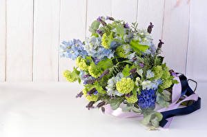 Fotos Sträuße Lavendel Rittersporne Hyazinthen Bretter Blüte