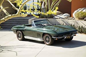 Bilder Chevrolet Retro Grün Metallisch Cabrio 1967 Corvette Sting Ray L79 Convertible Autos