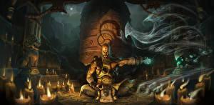 Bilder Diablo 3 Magie Kerzen Schamane Sitzend Nacht Mönch Reaper of Souls, Monk Spiele Fantasy