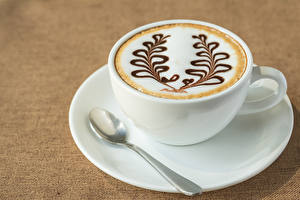 Pictures Drinks Coffee Cappuccino Colored background Cup Spoon Food