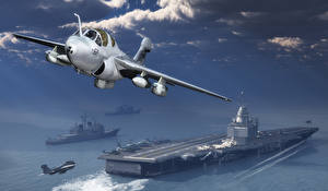 Bilder Flugzeuge Jagdflugzeug Flugzeugträger Abheben Northrop Grumman EA-6B Prowler 3D-Grafik Heer
