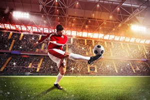 Hintergrundbilder Fußball Mann Ball Bein Uniform Rasen Stadion Sport