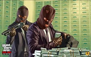 Desktop wallpapers GTA 5 Masks Shotgun Money Bank Two Suit Burglar Online Games