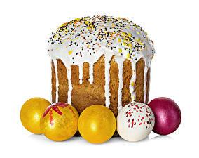 Sfondi desktop Giorno festivo Pasqua Prodotto da forno Kulič Glassa di zucchero Sfondo bianco Uovo