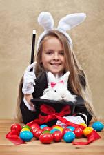 Wallpaper Holidays Easter Rabbit Egg Little girls Smile Bowknot Rabbit ears child
