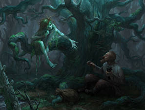 Pictures Illustrations to books Two Trees Old man Mermaid and Gavrila, Bezhin meadow Fantasy