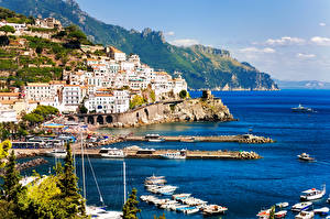Wallpapers Italy Coast Houses Pier Amalfi Rock Cities