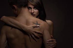 Wallpapers Man Love Human back Hands Tattoos Hugs young woman