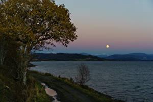 Fotos Norwegen Abend Flusse Bäume Mond Natur