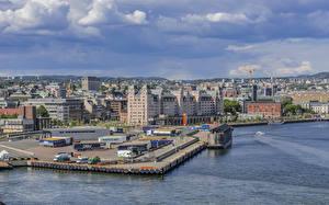 Bilder Norwegen Gebäude Flusse Bootssteg Himmel Oslo Harbor