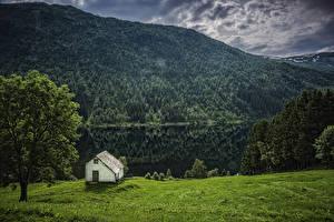 Bilder Norwegen Gebirge Flusse Haus Wälder Bäume Flisram Hordaland Natur