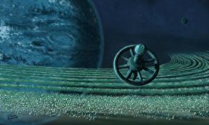 Bureaubladachtergronden Planeet Ruimtestation Fantasy 3D_graphics Ruimte