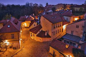 Images Prague Czech Republic Houses Evening Street From above Street lights Cities