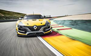 Papel de Parede Desktop Renault Na frente Movimento Amarelo 2014 RS 01 Carros