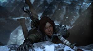 Fotos Rise of the Tomb Raider Lara Croft Bergsteiger Spiele 3D-Grafik Mädchens