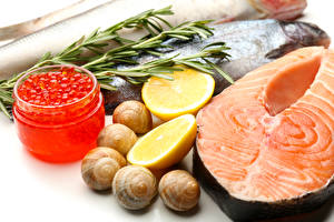 Wallpapers Seafoods Fish - Food Caviar Lemons Snails Salmon Jar Food