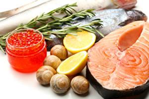 Bilder Meeresfrüchte Fische - Lebensmittel Rogen Zitrone Schnecken Lachs Weckglas das Essen