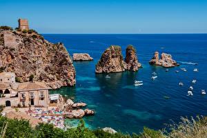 Sfondi desktop Sicilia Italia Litorale La casa Piccola barca Mare Falesia Scopello Natura