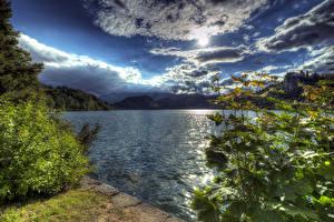 Fotos Slowenien Landschaftsfotografie See Himmel Wolke Sonne HDR Natur