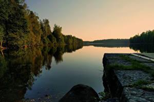 Fotos Schweden Wälder Flusse Abend Boras Vastra Gotaland Natur