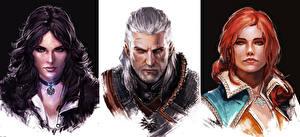 Bilder The Witcher 3: Wild Hunt Geralt von Rivia Gezeichnet Mann Rotschopf Brünette Triss Merigold, Yennefer of Vengerberg Mädchens