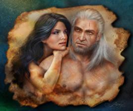 Hintergrundbilder The Witcher Mann Geralt von Rivia Zwei Yennefer Mädchens
