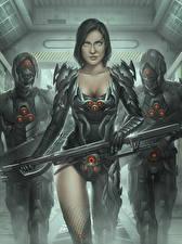Fonds d'écran Guerrier Trois 3 Armure Cyborg Fantasy Filles