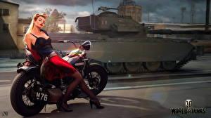Bakgrundsbilder på skrivbordet World of Tanks Stridsvagnar Motorcyklist Engelsk Nikita Bolyakov dataspel Unga_kvinnor Motorcyklar