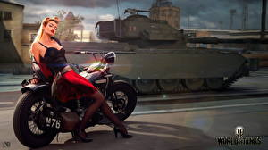 Wallpapers WOT Tanks Motorcyclist English Nikita Bolyakov vdeo game Girls Motorcycles