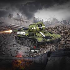 Fotos WOT Panzer T-34 Schuss Russische Blitz Spiele