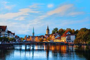 Wallpaper Zurich Switzerland Houses River Evening Bridges