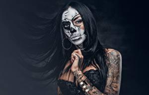 Hintergrundbilder Make Up Brünette Tätowierung Haar day of the dead