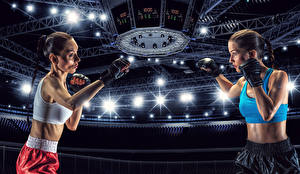 Image Boxing Two Brown haired Hands Stadium Girls Sport