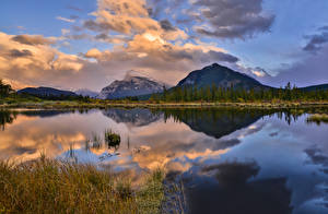 Image Canada Parks Mountain Lake Evening Landscape photography Banff Clouds Reflection Nature