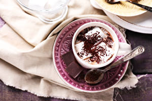 Pictures Chocolate Hot chocolate drink Saucer Cup Marshmallow Spoon