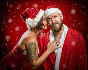 Wallpaper Christmas Santa Claus 2 Winter hat Tattoos Snow Jake Mattila, Helena Kesti