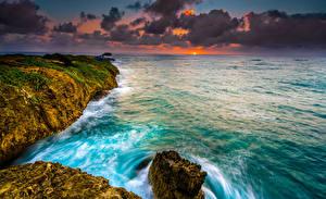 Photo Coast Sunrises and sunsets Waves Ocean USA Hawaii Clouds Crag Nature