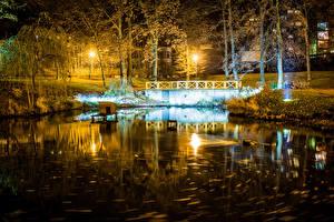 壁纸、、チェコ、公園、湖、夜、街灯、木、Liberec Vratislavice、自然