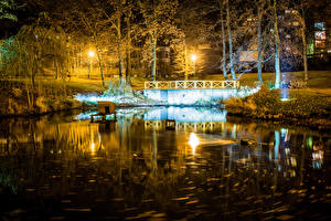 Wallpaper Czech Republic Parks Lake Night time Street lights Trees Liberec Vratislavice Nature