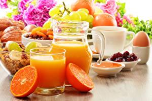 Photo Drinks Orange fruit Juice Highball glass Jugs Egg Food