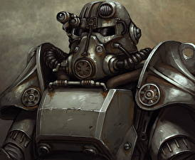 Fotos Fallout Krieger Rüstung Helm Brotherhood of Steel Spiele Fantasy
