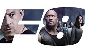 Bakgrundsbilder på skrivbordet Fast Furious 8 Vin Diesel Michelle Rodriguez Dwayne Johnson Män film Kändisar