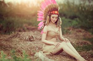 Wallpapers Feathers Indigenous peoples Legs Beautiful Sit Girls