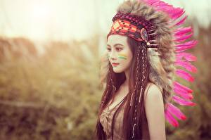 Photo Feathers Warbonnets Indigenous peoples Modelling Brown haired Beautiful Girls