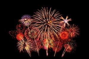 Wallpaper Fireworks Night time 2017 Black background