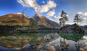 Images Germany Mountains Rivers Landscape photography Cliff Trees Reflection Clouds Berchtesgaden Nature