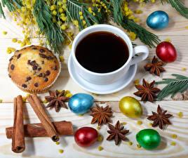 Bilder Feiertage Ostern Kaffee Zimt Sternanis Muffin Eier Tasse