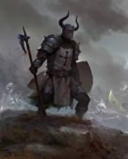 Bilder Ritter Streitaxt Helm Horn Rüstung Fantasy