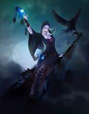 Fotos Magie Krähen Hexe Nacht Mond Fantasy Mädchens