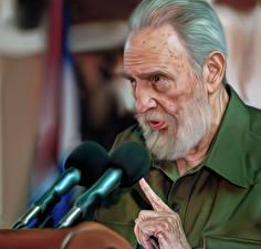 Tapety na pulpit Mężczyźni Rysowane Z brodą Stary człowiek Mikrofon Fidel Castro Celebryci